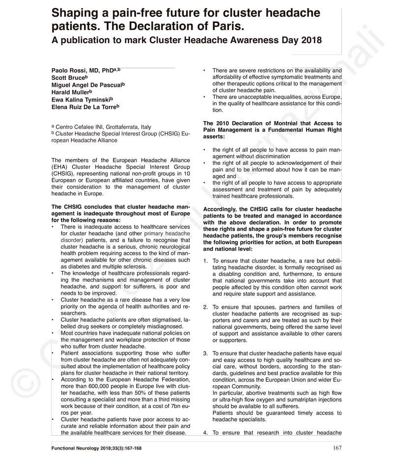Cefalea en racimos: Declaración de París, 2018